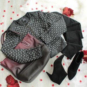 The Limited Black/Gray Tweed Jacket/Blazer Zipper